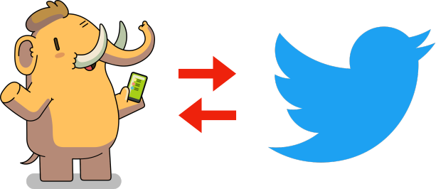 A mastodon, two arrows (one pointing left, one pointing right) and Twitter's logo.